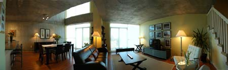 Panoramic living/dining room