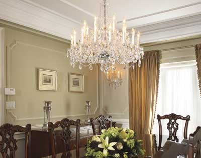 Soft formality of dining room is enhanced by tone-on-tone colour of panelling and moldings